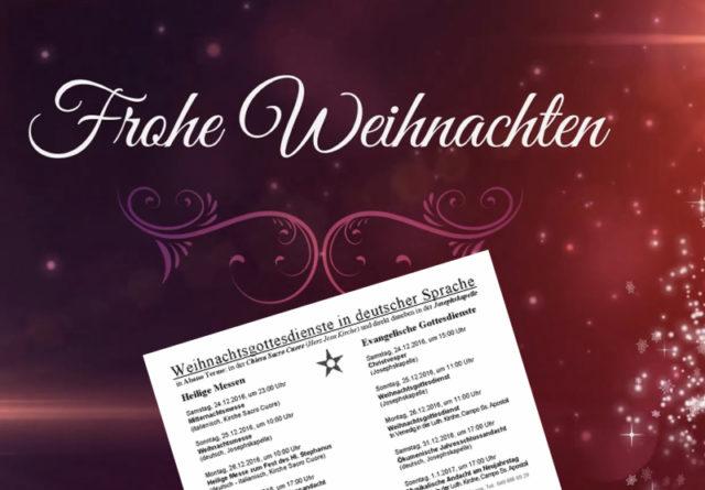 Weihnachtsgottesdienste in deutscher Sprache